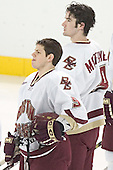 Nathan Gerbe, Brett Motherwell - The Boston College Eagles completed a shutout sweep of the University of Vermont Catamounts on Saturday, January 21, 2006 by defeating Vermont 3-0 at Conte Forum in Chestnut Hill, MA.