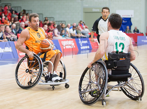 03.07.2016. Leicester Sports Arena, Leicester, England. Continental Clash Wheelchair Basketball Holland versus Australia. Anton de Rooij (NLD) attempts to dodge Tige Simmons (AUS)