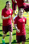 Atletico de Madrid's Filipe Luis (l) and Antoine Griezmann during training session. April 11,2017.(ALTERPHOTOS/Acero)