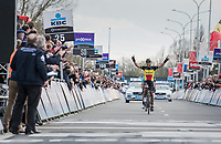 Philippe Gilbert (BEL/Quick Step floors) winning the sprint for 2nd and happy with the win for his teammate Yves Lampaert 39 seconds earlier<br /> <br /> 72nd Dwars Door Vlaanderen (1.UWT)<br /> 1day race: Roeselare › Waregem BEL (203.4km)