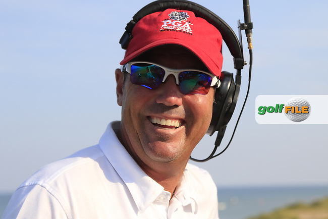Rich Beem working for Sky Sports during Sunday's Final Round of the 97th US PGA Championship 2015 held at Whistling Straits, Mosel, Kohler, Wisconsin, United States of America. 16/08/2015.<br /> Picture Eoin Clarke, www.golffile.ie