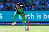10th February 2019, Melbourne Cricket Ground, Melbourne, Australia; Australian Big Bash Cricket, Melbourne Stars versus Sydney Sixers;  Sandeep Lamichhane of the Melbourne Stars bowls