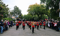 Pictured: The Welsh Guards parade through Oxford Street in Swansea.  Friday 15 September 2017<br />Re: Soldiers from the Welsh Guards have exercised their freedom to march through the streets of Swansea in Wales, UK.<br />The Welsh warriors paraded with bayonets-fixed from the city centre to the Brangwyn Hall, where the Lord Mayor of Swansea took a salute.