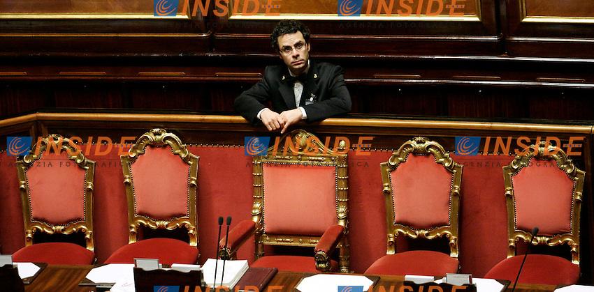 SEDIE VUOTE.Roma 22/12/2011 Senato. Voto di Fiducia sulla Manovra Economica.Votation at Senate about austerity plan. .Photo Samantha Zucchi Insidefoto
