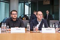 Oeffentliche Sitzung des Sportausschusses des Deutschen Bundestag am Mittwoch den 4. Maerz 2020 zum Rechtsextremismus im Fussball.<br /> Im Bild vlnr.: Robert Claus, Kompetenzgruppe fuer Fankulturen & Sport bezogene Soziale Arbeit (KoFaS);<br /> Michael Gabriel, Koordinationsstelle Fanprojekte b. d. dsj (KOS).<br /> 4.3.2020, Berlin<br /> Copyright: Christian-Ditsch.de<br /> [NUR FUER REDAKTIONELLE ZWECKE! Werbung nur auf Anfrage beim Fotografen. Inhaltsveraendernde Manipulation des Fotos nur nach ausdruecklicher Genehmigung des Fotografen. Vereinbarungen ueber Abtretung von Persoenlichkeitsrechten/Model Release der abgebildeten Person/Personen liegen nicht vor. NO MODEL RELEASE! Don't publish without copyright Christian-Ditsch.de, Veroeffentlichung nur mit Fotografennennung, sowie gegen Honorar, MwSt. und Beleg. Konto: I N G - D i B a, IBAN DE58500105175400192269, BIC INGDDEFFXXX, Kontakt: post@christian-ditsch.de<br /> Bei der Bearbeitung der Dateiinformationen darf die Urheberkennzeichnung in den EXIF- und  IPTC-Daten nicht entfernt werden, diese sind in digitalen Medien nach §95c UrhG rechtlich geschuetzt. Der Urhebervermerk wird gemaess §13 UrhG verlangt.]