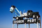 A blower truck, used in opal mining, welcomes visitors to the outback town of Coober Pedy - the opal capital of Australia.  Coober Pedy, South Australia, AUSTRALIA.