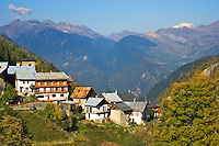Village of Celliers, Savoie, Savoy, France, in the Tarentaise, with Mont Blanc in the background.