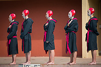 Stanford, CA - March 8, 2020: Madison Stamen, Hannah Shabb, Katie Lyons, Lexi Rowell, Lauren Indart at Avery Aquatic Center. The No. 2 Stanford Women's Water Polo team beat the No. 6 Arizona State Sun Devils 9-8.