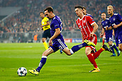 September 12th 2017, Munich, Germany, Champions League football, Bayern Munich versus Anderlecht;  Sven Kums midfielder of RSC Anderlecht breaks past Robert Lewandowski of Bayern Munchen