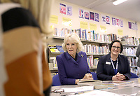 06/02/2020 - Camilla Duchess of Cornwall sits flanked by governor Natasha Wilson as they sit down with staff and prisoners at a reading group in the library, during a visit to Her Majesty's HM Prison Downview in Sutton, south London. During the visit to the women's prison Thursday, the Duchess met staff and inmates and learnt about the prison's rehabilitation programmes. Photo Credit: ALPR/AdMedia