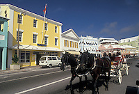 Bermuda, Hamilton, Carriage ride along Front Street in the town of Hamilton in Bermuda.