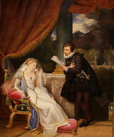Part of the Ben Weider's collection on Napoleon at Montreal Museum of Fine Arts.<br /> <br /> Tasso reading an episode  from Jerusalem delivered to Princess Eleonore, or poetry (Le Tasse lisant a la princesse Eleonore un episode de LA JERUSALEM DELIVREE, ou la poesie, around 1819-1822 by  Louis Ducis<br /> <br /> Photo : Pierre Roussel - Agence Quebec Presse<br /> <br /> <br /> <br /> <br /> <br /> <br /> <br /> <br /> <br /> <br /> <br /> .