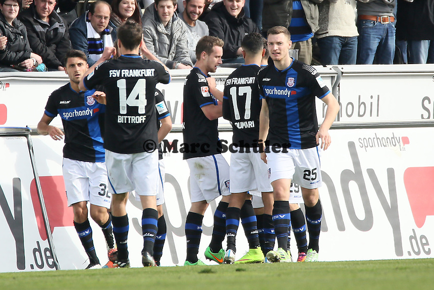 Torjubel FSV beim 1:0 durch Zlatko Dedic (FSV) - FSV Frankfurt vs. SV Darmstadt 98, Frankfurter Volksbank Stadion