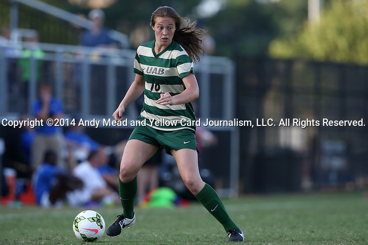 31 August 2014: UAB's Sharon Osterbind. The Duke University Blue Devils hosted the University of Alabama Birmingham Blazers at Koskinen Stadium in Durham, North Carolina in a 2014 NCAA Division I Women's Soccer match. Duke won the game 3-1.