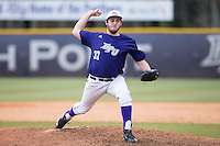 High Point Panthers relief pitcher Connor Lourey (37) delivers a pitch to the plate against the UNCG Spartans at Willard Stadium on February 14, 2015 in High Point, North Carolina.  The Panthers defeated the Spartans 12-2.  (Brian Westerholt/Four Seam Images)