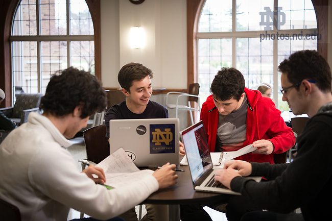 March 9, 2017; Pedro Navarro '20, international student from Brazil, studies with fellow Brazilian undergraduates. (Photo by Matt Cashore/University of Notre Dame)