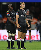 DURBAN, SOUTH AFRICA - APRIL 14: Tera Mtembu of the Cell C Sharks with Andre Esterhuizen of the Cell C Sharks during the Super Rugby match between Cell C Sharks and Vodacom Bulls at Jonsson Kings Park Stadium on April 14, 2018 in Durban, South Africa. Photo: Steve Haag / stevehaagsports.com
