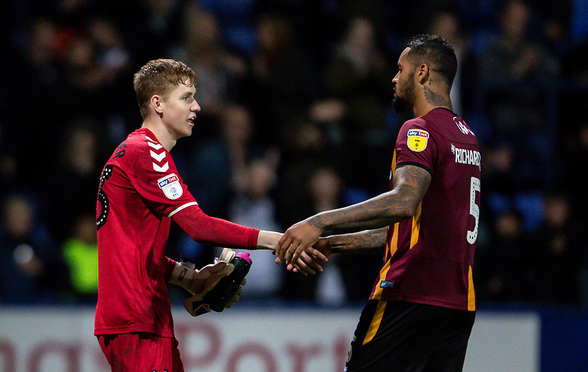 Bolton Wanderers' Matthew Alexander (left) shakes hands at the end of the match with Bradford City's Ben Richards-Everton <br /> <br /> Photographer Andrew Kearns/CameraSport<br /> <br /> EFL Leasing.com Trophy - Northern Section - Group F - Bolton Wanderers v Bradford City -  Tuesday 3rd September 2019 - University of Bolton Stadium - Bolton<br />  <br /> World Copyright © 2018 CameraSport. All rights reserved. 43 Linden Ave. Countesthorpe. Leicester. England. LE8 5PG - Tel: +44 (0) 116 277 4147 - admin@camerasport.com - www.camerasport.com