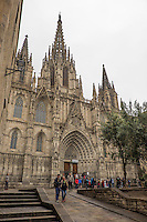 The Neo-Gothic facade of Barcelona's Cathedral, in the Gothic Quarter, was added in the 19th-century.