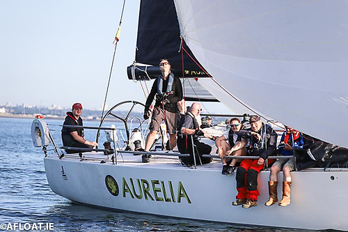 Line hnouors winner Chris Power Smith's J122 Aurelia, included ISORA Chairman Peter Ryan (second from right) on the crew for Race five Photo: Afloat