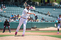 Nick Tropeano (25) of the Salt Lake Bees throws to first base against the Reno Aces in Pacific Coast League action at Smith's Ballpark on May 10, 2015 in Salt Lake City, Utah.  Salt Lake defeated Reno 9-2 in Game One of the double-header. (Stephen Smith/Four Seam Images)