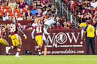 Landover, MD - August 16, 2018: New York Jets wide receiver Charone Peake (17) makes a circus catch for a touchdown late in the 4th quarter of the preseason game between the New York Jets and Washington Redskins at FedEx Field in Landover, MD. (Photo by Phillip Peters/Media Images International)