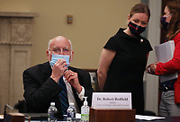 """Dr. Robert Redfield, Director of the Centers for Disease Control and Prevention  arrives to testify when the United States House Labor, Health and Human Services, Education and Related Agencies Subcommittee holds a hearing on """"COVID-19 Response on Capitol Hill in Washington, DC on Thursday, June 4, 2020. <br /> Credit: Tasos Katopodis / Pool via CNP/AdMedia"""