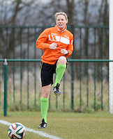 20150226 - Tubize , Belgium : assistant referee Stephanie Forde pictured during the friendly female soccer match between Women under 17 teams of  Belgium and Scotland  . Thursday 26th February 2015 . PHOTO DAVID CATRY