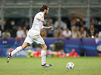 Calcio, finale di Champions League: Real Madrid vs Atletico Madrid. Stadio San Siro, Milano, 28 maggio 2016.<br /> Real Madrid&rsquo;s Gareth Bale prepares to kick to score during the penalty shootout of the Champions League final match between Real Madrid and Atletico Madrid, at Milan's San Siro stadium, 28 May 2016. Real Madrid won 5-4 on penalties after the match ended 1-1.<br /> UPDATE IMAGES PRESS/Isabella Bonotto