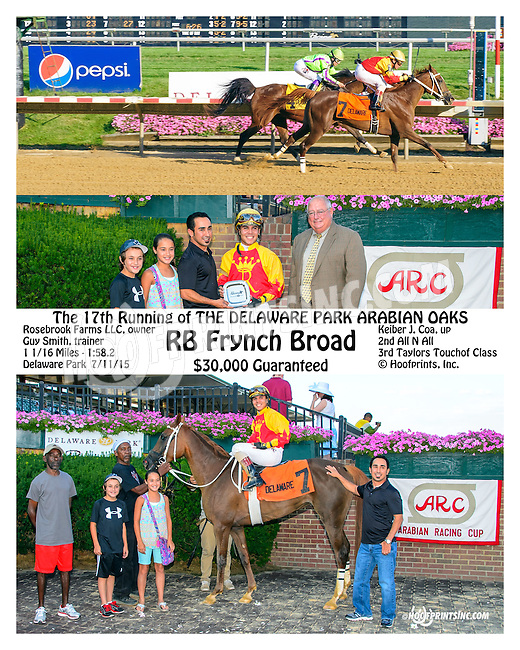 RB Frynch Broad winning The Delaware Park Arabian Oaks (gr2) at Delaware Park on 7/11/15