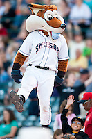 August 7,2010 Sky Sox Mascot in action during the MiLB game between the New Orleans Zephyrs and the Colorado Springs Sky Sox at Security Service Field in Colorado Springs Colorado.