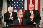 United States President George W. Bush delivers his State ofthe Union Address to a Joint Session of Congress in the Capitol in Washington, D.C. on February 2, 2005.  <br /> Credit: Luke Frazza / Pool via CNP