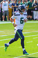 Seattle Seahawks quarterback Austin Davis (6) during a National Football League game against the Green Bay Packers on September 10, 2017 at Lambeau Field in Green Bay, Wisconsin. Green Bay defeated Seattle 17-9. (Brad Krause/Krause Sports Photography)