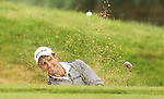 Edoardo Molinari splashes out of the sand on the 12th hole during the 2nd round of the ISPS Handa Wales Open 2012...01.06.12.©Steve Pope