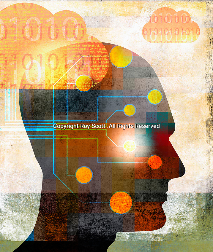 Circuit board connecting man's head to cloud computing