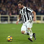 9th February 2018, Stadio Artemio Franchi, Florence, Italy; Serie A football, ACF Fiorentina versus Juventus; Gonzalo Higuain of Juventus cuts inside on the ball