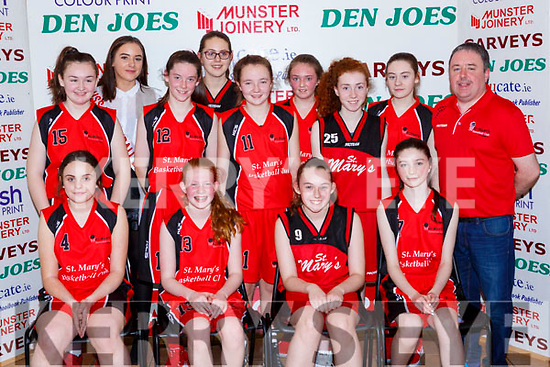 The St marys team team that played in the U14 Girls final at the St Marys Basketball Blitz on Saturday Clodagh Swanser, Hannah Herlihy, Aoibhín O'Mahony, Joanna Moynihan. Back row: Chantel Broderick, Leanne Cahill-O'Connor Miss Basketball Shauna Tangney, Chloe Barrett, Abby O'Mahony, Emma Kerin, Ashling Shire, Katie Cotter and Tommy O'Connor