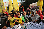 Palestinian Fatah supporters take part in a rally to mark the 15th anniversary of the death of late Palestinian leader Yasser Arafat in Gaza city on November 09, 2019. Photo by Ashraf Amra