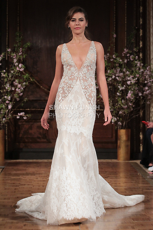 """Model walks runway in a """"Joey"""" bridal gown from the Isabelle Armstrong Spring Collection 2017, at Lotte New York Palace Hotel, during New York Bridal Fashion Week Spring Summer 2017 on April 16, 2017."""