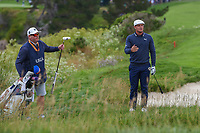 Brian Davis (GBR) reacts to the crowd noise during his chip on to 6 during round 2 of the 2019 US Open, Pebble Beach Golf Links, Monterrey, California, USA. 6/14/2019.<br /> Picture: Golffile | Ken Murray<br /> <br /> All photo usage must carry mandatory copyright credit (© Golffile | Ken Murray)