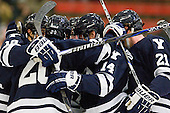 Kenny Agostino (Yale - 18), Jesse Root (Yale - 20), Ryan Obuchowski (Yale - 14), Colin Dueck (Yale - 21) - The Yale University Bulldogs defeated the Harvard University Crimson 5-1 on Saturday, November 3, 2012, at Bright Hockey Center in Boston, Massachusetts.