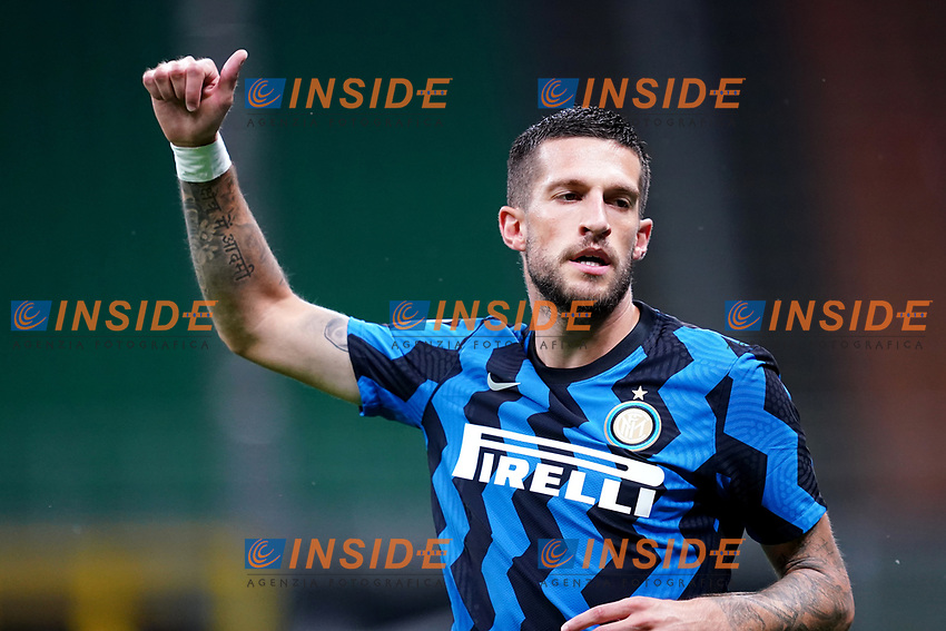 Cristiano Biraghi of FC Internazionale reacts during the Serie A football match between FC Internazionale and SSC Napoli at San Siro stadium in Milano (Italy), July 28th, 2020. Play resumes behind closed doors following the outbreak of the coronavirus disease. Photo Marco Canoniero / Insidefoto