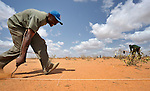 A worker from the ACT Alliance lays out plot boundaries in the sand where newly arrived refugees will make their home in the Dadaab refugee camp in northwestern Kenya. Tens of thousands of refugees have fled drought-stricken Somalia in recent weeks, swelling what was already the world's largest refugee settlement. The Lutheran World Federation--a member of the ACT Alliance--manages the camp, and is working with United Nations agencies in helping receive and house the new refugees.