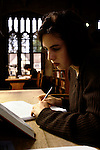 'OXFORD UNIVERSITY' 1995, STUDENT ELISH MCCLUSKY IN THE NEW LIBRARY AT MAGDALEN COLLEGE, 1995