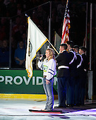 UML alum Jilly Martin sang the national anthem. - The Providence College Friars defeated the Boston University Terriers 4-3 to win the national championship in the Frozen Four final at TD Garden on Saturday, April 11, 2015, in Boston, Massachusetts.