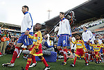 13 JUN 2010:  Serbia's team enters onto the field for team introductions.  The Serbia National Team played the Ghana National Team at Loftus Versfeld Stadium in Tshwane/Pretoria, South Africa in a 2010 FIFA World Cup Group D match.