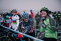 Katie Compton (USA/KFC Racing p/b Trek/Panache) & Marianne Vos (NED/Waow Deals) in relaxed conversation before the race start<br /> <br /> women's race<br /> CX World Cup Koksijde 2018
