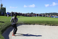 Arizona Cardinals wide receiver Larry Fitzgerald chips from a bunker at the 6th green at Pebble Beach Golf Links during Saturday's Round 3 of the 2017 AT&amp;T Pebble Beach Pro-Am held over 3 courses, Pebble Beach, Spyglass Hill and Monterey Penninsula Country Club, Monterey, California, USA. 11th February 2017.<br /> Picture: Eoin Clarke | Golffile<br /> <br /> <br /> All photos usage must carry mandatory copyright credit (&copy; Golffile | Eoin Clarke)