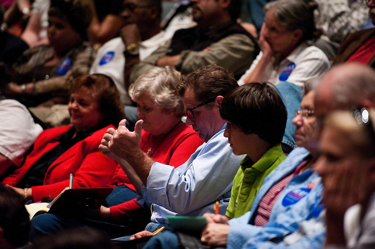 CHARLOTTESVILLE, VA - Oct. 19: A Hurt supporter gives a thumbs up during the League of Women Voters debate between U.S. Rep. Tom Perriello, D-Va., and Republican challenger Robert Hurt at Piedmont Virginia Community College in Charlottesville, Va. (Photo by Scott J. Ferrell/Congressional Quarterly)