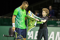 Rotterdam, The Netherlands, Februari 10, 2016,  ABNAMROWTT,Viktor Troicki (SRB), Ball-Boy<br /> Photo: Tennisimages/Henk Koster
